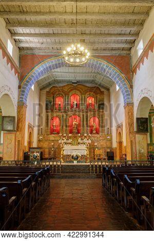 San Juan Bautista, California - June 6, 2021: Altar Of Church At Mission San Juan Bautista