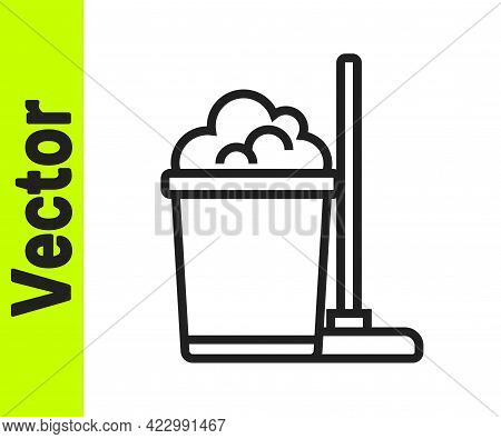Black Line Mop And Bucket Icon Isolated On White Background. Cleaning Service Concept. Vector