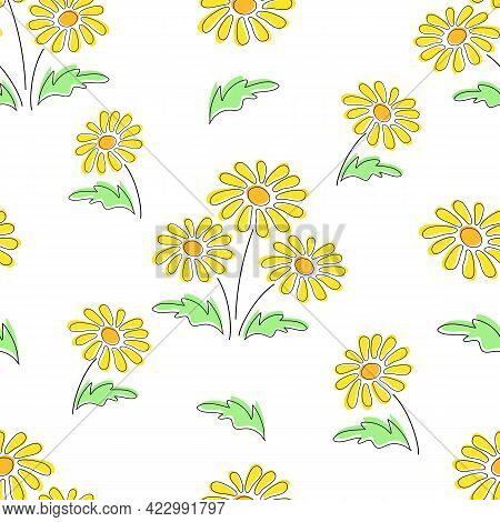 Seamless Floral Pattern With Yellow Dandelion Flowers Vector Texture Tile. Botanical Repeating Backg