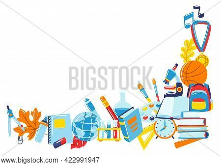 School Background With Education Items. Illustration Of Supplies And Stationery.