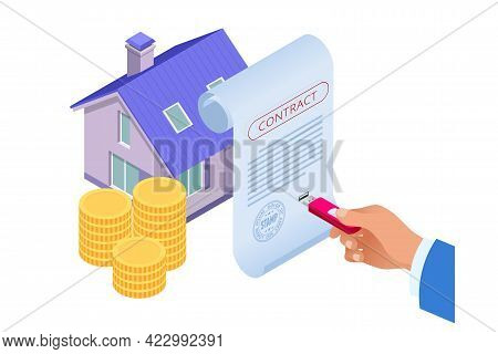 Isometric Signed Property Purchase Agreement, Buyer. Mortgage Online, New Home Buying Online. Buying