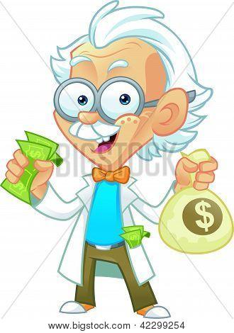 Professor Character Holding Money