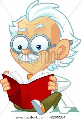 Professor Mascot Reading a Book