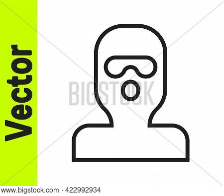 Black Line Thief Mask Icon Isolated On White Background. Bandit Mask, Criminal Man. Vector