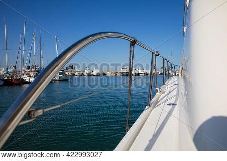 Pleasure Boat Leaving Marina In Glyfada, Athens, Greece In Beautiful Sunny Day.