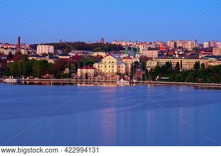 Ternopil, Ukraine-may 11,2021:high Perspective View Of Old Part Of The City With Lake, Embankment,ta