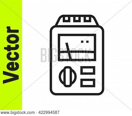 Black Line Dosimeter For Measuring Radiation Icon Isolated On White Background. Gamma Radiation Pers