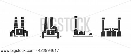 Geothermal Power Plant Icon Set. Environment, Eco Friendly Industry, Sustainable And Renewable Energ