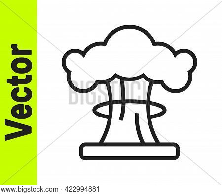 Black Line Nuclear Explosion Icon Isolated On White Background. Atomic Bomb. Symbol Of Nuclear War,