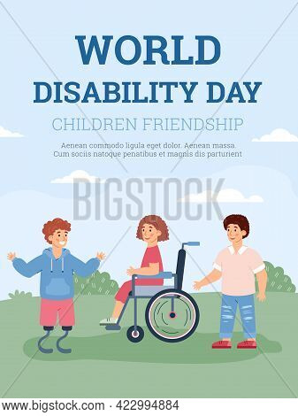 Banner For World Disability Day With Disabled Kids Cartoon Vector Illustration.