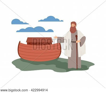 Biblical Flood With Noah Standing Near Ark, Flat Vector Illustration Isolated.
