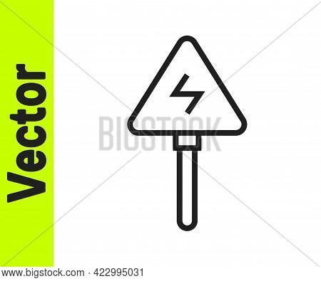 Black Line High Voltage Sign Icon Isolated On White Background. Danger Symbol. Arrow In Triangle. Wa