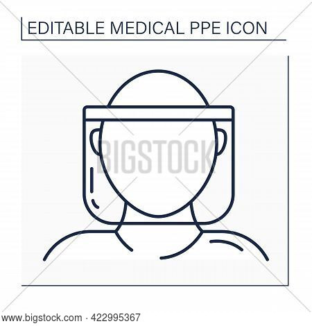 Face Shield Line Icon. Face Protection. Personal Protective Equipment. Barrier Between Person And Ge