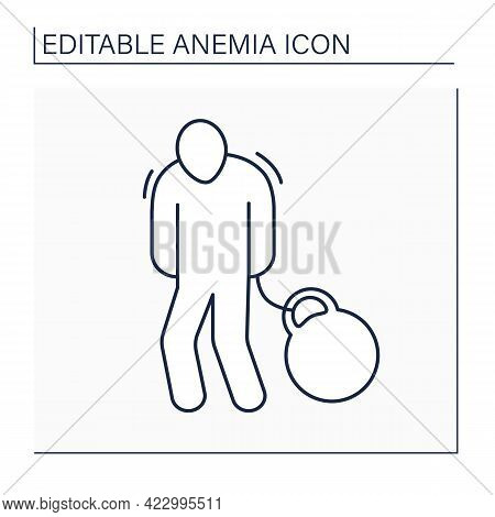 Body Heaviness Line Icon. Disease Symptoms. Weakness. Health Protection. Anemia Disease Concept. Iso
