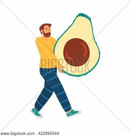 Man Following A Keto Diet Carry Health Food Avocado A Vector Illustration.