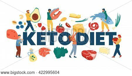 Keto Diet Web Banner With Tiny People, Cartoon Vector Illustration Isolated.