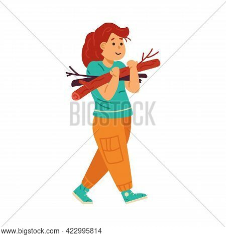 Child Girl Collects Firewood For Campfire Flat Vector Illustration Isolated.