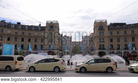 Karls Square Also Called Stachus In The City Of Munich - City Of Munich, Germany - June 03, 2021