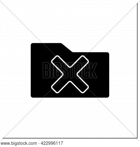 Rejected Folder Glyph Icon. Check In Paper Folder. Examine And Cancel. Confidential File. Reject Con