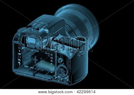 Profesional Dslr Camera  Isolated On Black