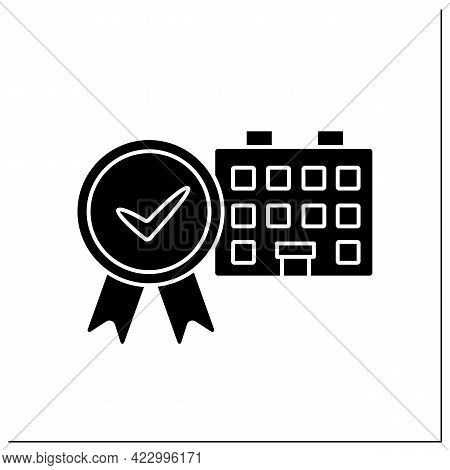 Approved House Glyph Icon. Examined And Certificated Residence. Approved Living Place, Comfortable C