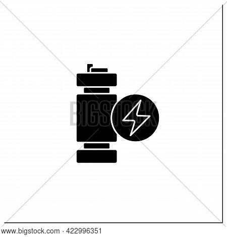 Modular Mini Reactor Glyph Icon. Nuclear Fission Reactor. Flexible Power Generation. Electricity Con