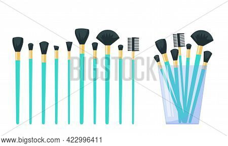 Set Of Makeup Brushes, Make Up Brushes In The Glass. Flat Vector Illustration Isolated On White Back