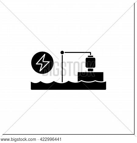 Pumped Storage Station Glyph Icon. Hydroelectric Energy Storage.water Reservoir. Electricity Concept