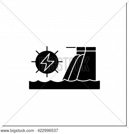 Hydroelectric Power Glyph Icon.harnesses Water Power. Waterfall Energy Generates Electricity. Electr