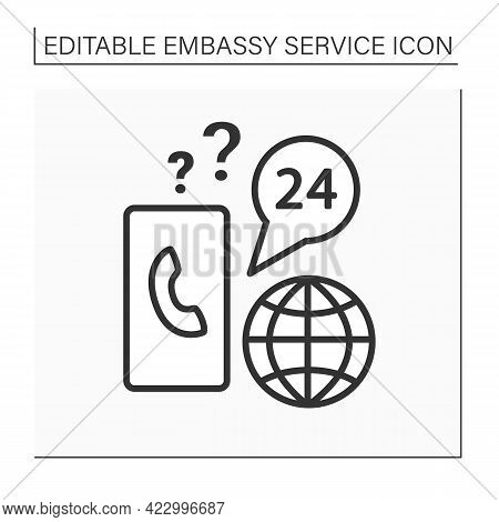 Client Support Line Icon. Communication And Consultation About Visa Issues. Day-and-night Call Cente