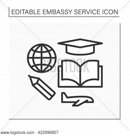 Study Line Icon. Student Visa To Study In Different States. Ability To Get Education Abroad. Embassy