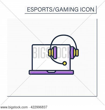 Technical Devices Color Icon. Laptop And Headset. Cybersport Concept. Isolated Vector Illustration