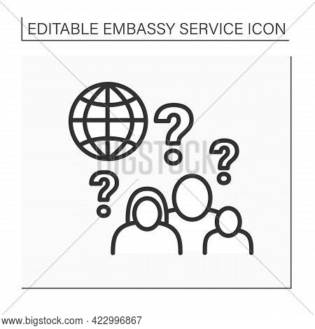 Child And Family Matters Line Icon. Intercountry Adoption Process. Birth Abroad And International Pa