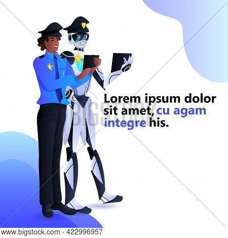 Police Robot With African American Patrol Man Cops In Uniform Using Tablet Pc Artificial Intelligenc