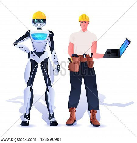 Robot And Workman In Hardhats Construction Workers Standing Together Artificial Intelligence Concept