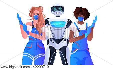 Robotic Janitor With Women Cleaners Standing Together Cleaning Service Artificial Intelligence Techn