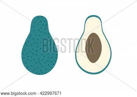 A Whole Avacado And A Piece Of Avacado On An Isolated White Background. Flat Vector Illustration. Ex