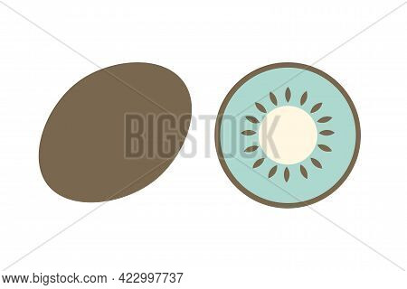 A Whole Kiwi And A Slice Of Kiwi On An Isolated White Background. Flat Vector Illustration. The Frui