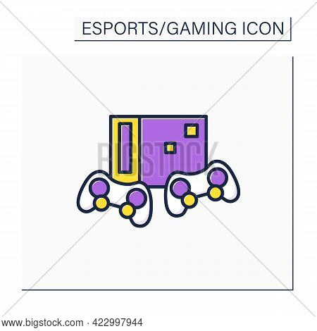 Video Game Console Color Icon. Electronic Gaming Console And Wireless Joysticks. Control Column. Onl