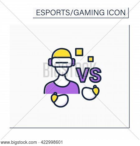 Gamer Color Icon. Man In Virtual Reality Goggles With Wireless Headphones. Technical Equipment. Cybe