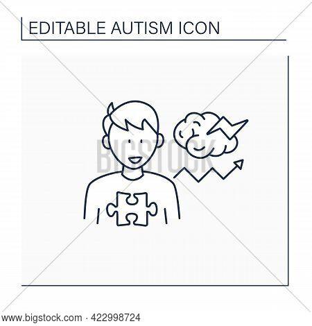Neurodevelopmental Disorder Line Icon. Behavioral Disturbances. Restricted And Repetitive Behavior.