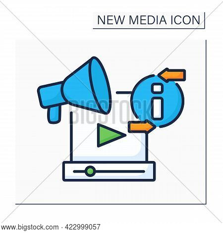 Promotion Video Color Icon. Publicize Recording. Announce About New Services, Products. Advertising.