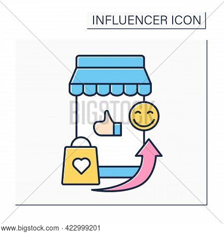 Influencer Marketplace Color Icon.online Platform Connects Marketers With Influencers.brands, Market
