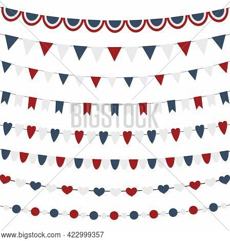 Bunting Flags Set For Independence Day Isolated.