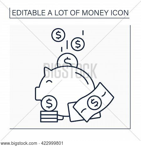 Money Line Icon. Piggybank. Puts Cash And Coins Into Moneybox. Economy Wealth Concept. Isolated Vect