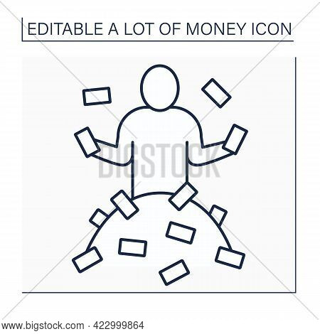 Money Line Icon. Person Has A Lot Of Money. Rich Man. Wealth Concept. Isolated Vector Illustration.e