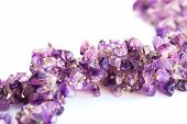 Amethyst necklace isolated on white background, horizontal picture. poster