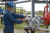 Gas production operator works and maintains well site or compressor station poster