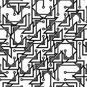 Monochrome seamless abstract pattern in hi-tech style. EPS 8 vector illustration. poster