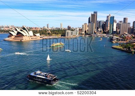 Sydney Harbour, Opera House And City Buildings, Australia
